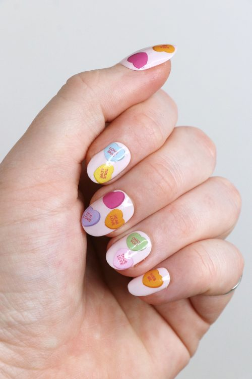 Conversation Hearts Nail Decals / Valentines Day nail tattoos / Valentine nail art / heart nail decals / love nail decals / love nail art