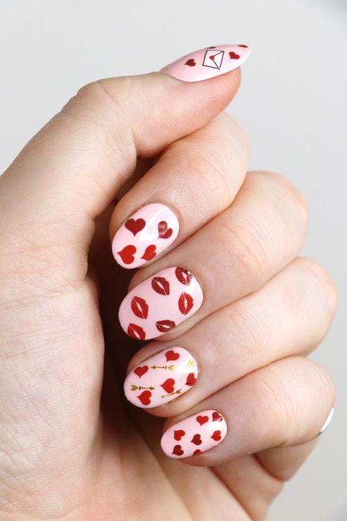 Valentines Day Nail Decals / Red hearts nail tattoos / kisses love letters nail art / heart nail decals / love nail decals / love nail art