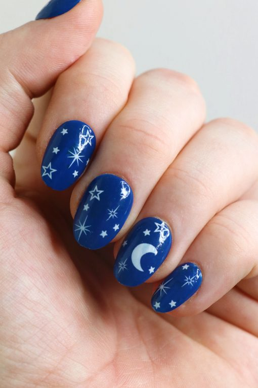 White moon and stars nail tattoos / white nail decals / nail art / bohemian nails / white star decals / festival nail decals / self care
