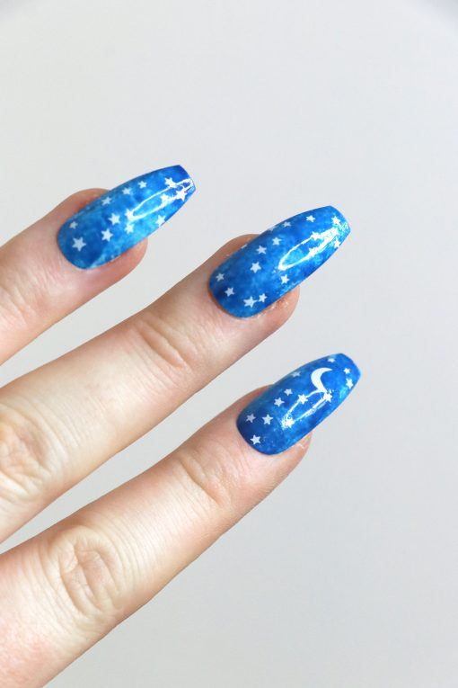 moon and stars nail tattoos / white nail decals / nail art / bohemian nails / white star decals / festival nail decals / self care / white