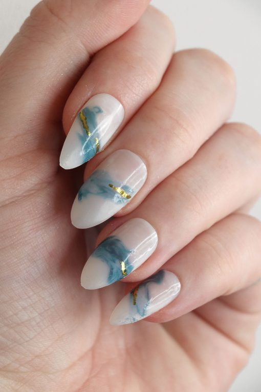Blue and gold watercolor waves nail decals / watercolor nail decals / watercolor nail art / waves nail decals / sea nail art / blue / N53
