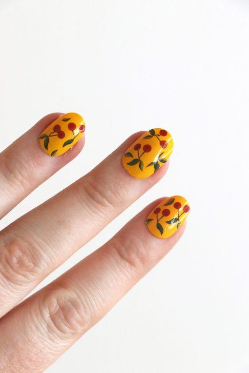Cherry nail tattoos / cherry nail decals / nail art / cherry nails / fruit nail decals / fruit nails / self care / cherries nail art / N55