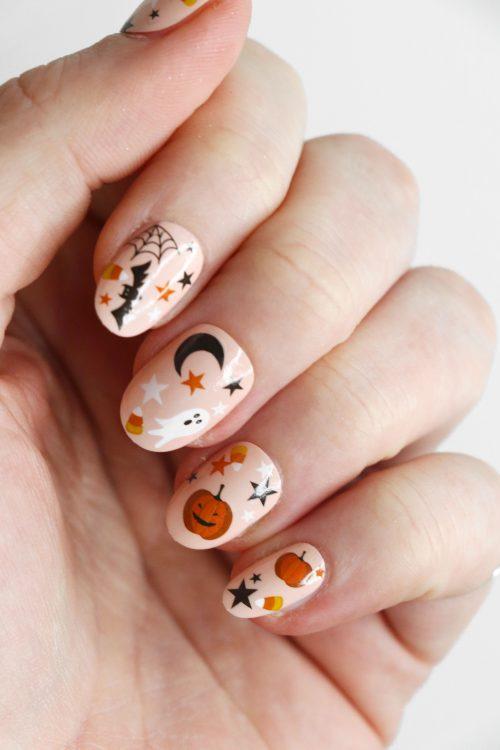 Cute Halloween nail tattoos / pumpkin nail decals / nail art / Halloween nails / bat nail decals / ghost nail decals / moon and stars / N89
