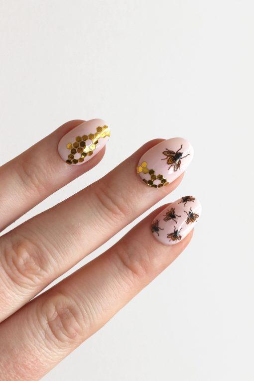 Honeycomb and bees nail decals / gold honeycomb nail tattoos / bee nail art / bee nails / bee nail decals / honeycomb nail art / N49