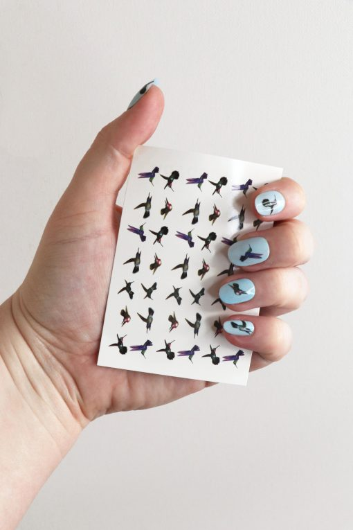 Hummingbird nail decals / hummingbird nail tattoos / bird nail art / hummingbird nails / bird nail decals / hummingbird nail art / N62
