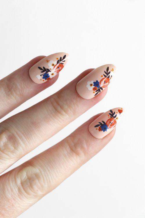 modern floral nail tattoos / flower nail decals / nail art / floral nails / floral nail decals / flower nail art / daisies nail decals / N79