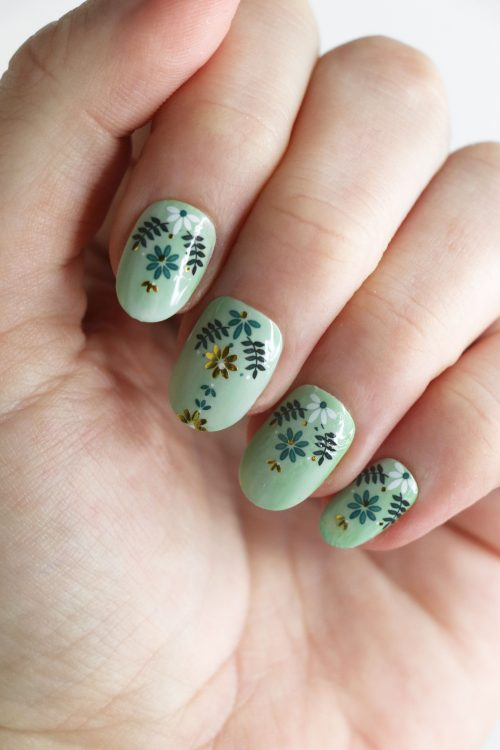 Blue, white and gold floral pattern nail decals