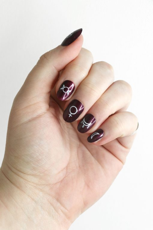 White witch nail tattoos / nail decals / nail art / Halloween / witch nail decals / magic nail decals / nail wraps / moon nail decals / N78