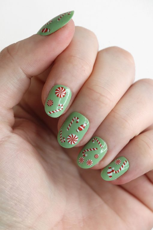 Candy Cane nail decals / Christmas nail decals / Christmas nail art / Candy Cane Christmas nails / Christmas nail art / Candy nails / N90