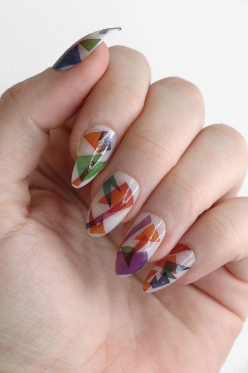 Modern watercolor art nail tattoos / Art nail decals / nail art / modern nails / Modern art nail decals / colorful nail decals / N58