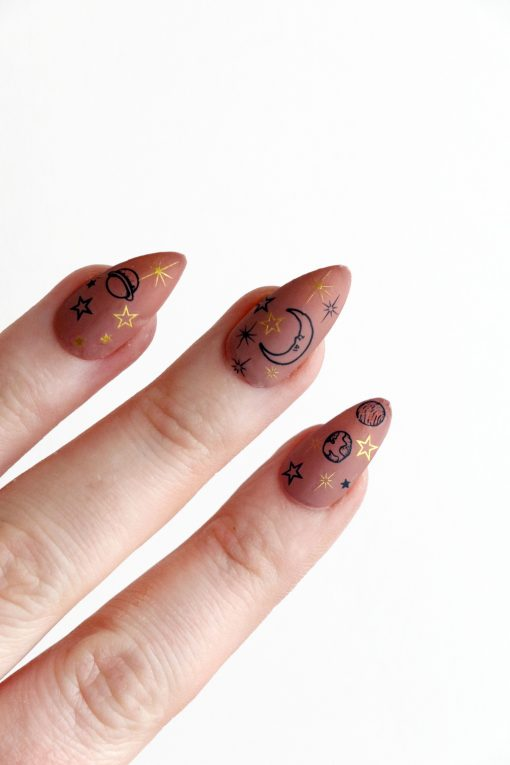 Gold and black moon, sun and stars nail tattoos / gold star nail decals / sun nail decals / celestial nail decals / self care / N60