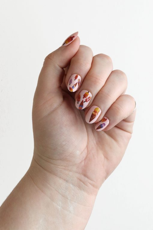 Ice cream and Popsicle nail decals / ice cream nail decals / nail art / Popsicle nail art / summer nail decals / colorful nail decals / N64