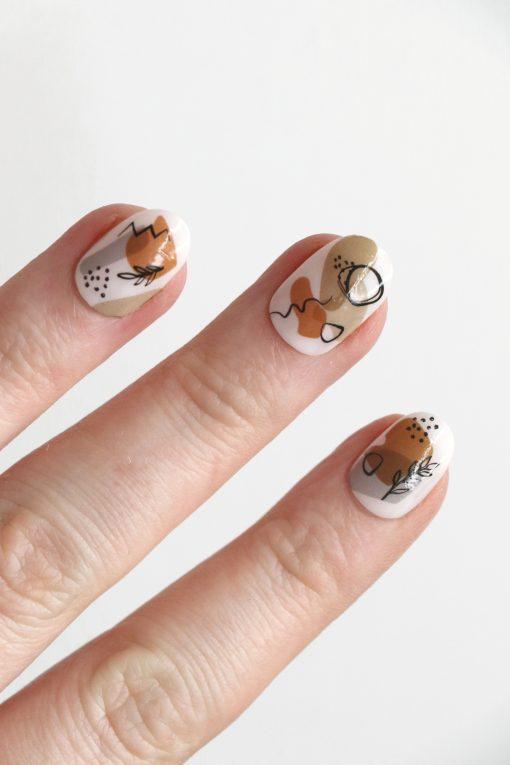 Neutral modern art nail tattoos / Art nail decals / nail art / modern nails / Modern art nail decals / colorful nail decals / self care /N59