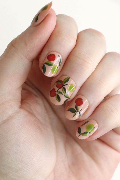 Red and green apples nail tattoos / Apple nail decals / nail art / apple nails / fruit nail decals / Apples nail decals / fruit nails / N54