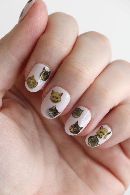 Vintage cat faces Nail Decals / cat nail art / cats nail art / cat lady nail decals / cat gift / cat lady nail decals / N65